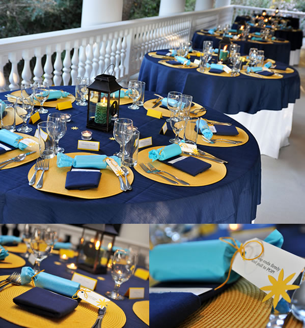 Blue and Yellow Wedding Table Display