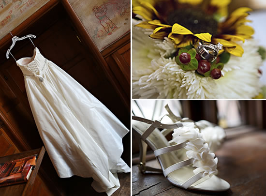 Wedding Dress, Rings and Shoes