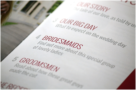 Wedding Program Table Of Contents