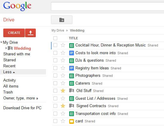Google Drive Wedding List