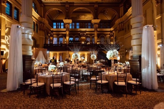 The Grain Exchange exquisitely uplit by Sound By Design using gobo, uplights and floral pinspotting. Photo by Front Room Photography