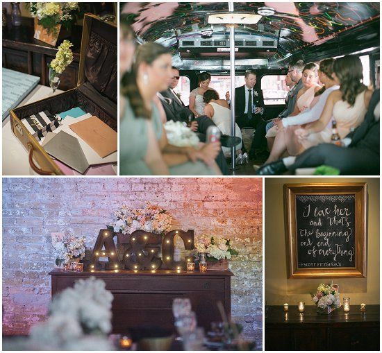 The couple rented a bus for $800 (top right). Photos by Uttke Photography & Design.