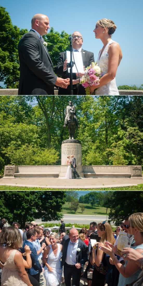 Alderman Nik Kovac and Grace Fuhr got married on the stairs of Lake Park. Photos by Howard Leu Photography