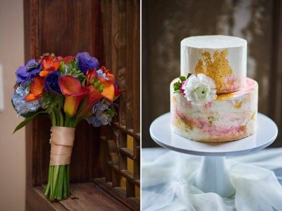 Two works of art: left a bouquet created by Petals Floral Design / Photo by Happy Gnome Photography. Right: Cake by Miss Molly's Pastries / Photo by Craig John Photography