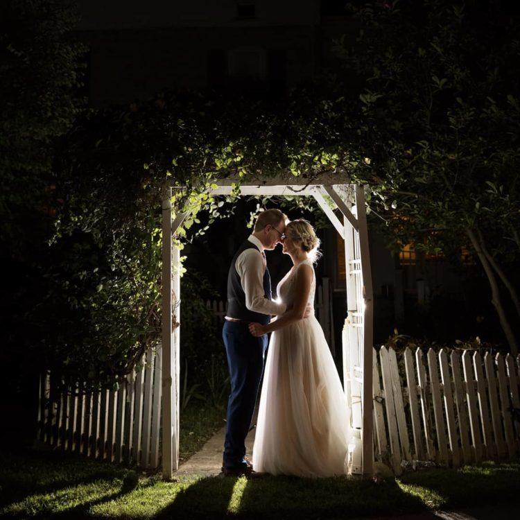 Outside Nighttime Wedding Photo - Happy Gnome Photography