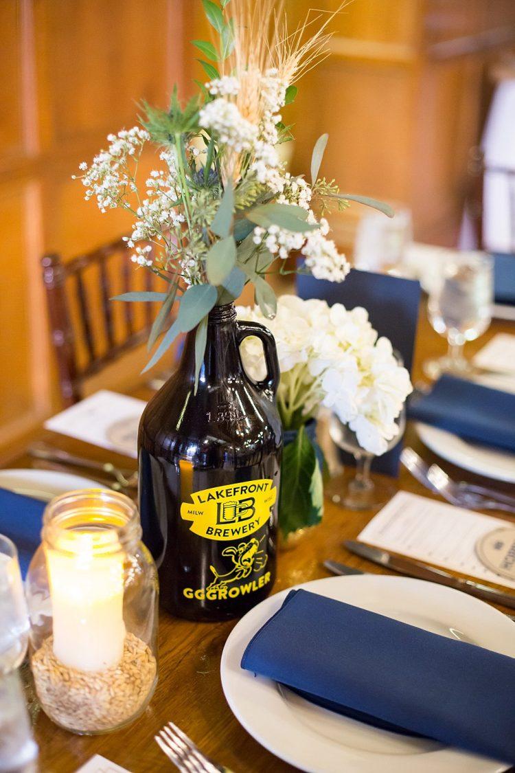 Milwaukee Beer Growler Wedding Centerpiece