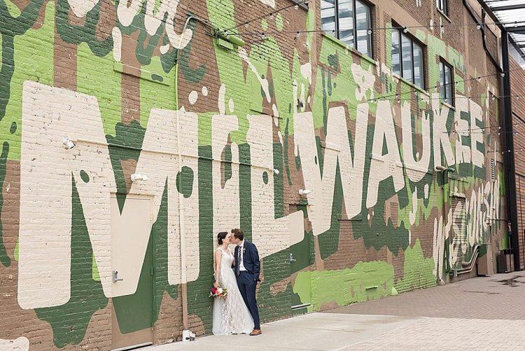 Milwaukee Mural Wedding Photo